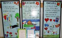 Plakatar minner elevane på kva som er viktig.